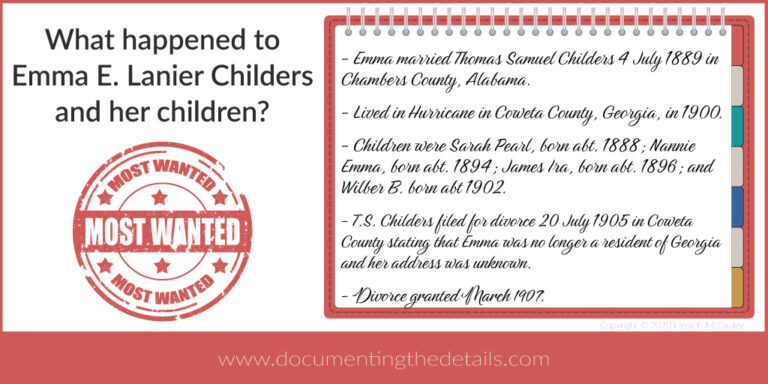 What happened to Emma Lanier Childers and her children?